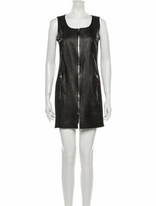 Prada Leather Mini Dress Black