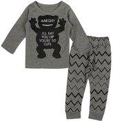 YOUJIA Unisex Baby Short Sleeved Printed T-shirt Pants 2pcs Clothes Set Gray, 80