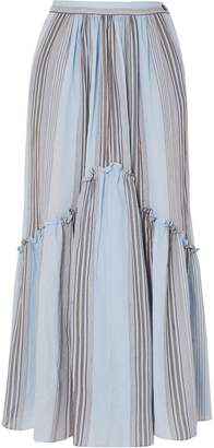 Three Graces London Leila Striped Cotton-gauze Midi Skirt