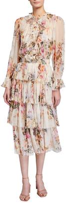 Zimmermann Brighton Tiered Frill Floral Midi Dress