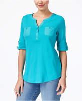 Karen Scott Cotton Roll-Tab-Sleeve Henley, Created for Macy's