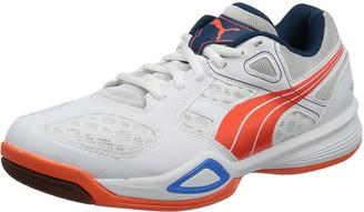 Puma Womens Virante WN's Indoor Shoes White Wei (White-Fluo Peach-Brilliant Blue 01) Size: 39