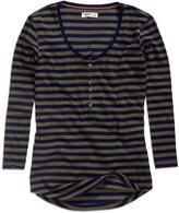 Timeout Indigo Stripe Button-Front Tee