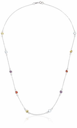Amazon Essentials Sterling Silver AAA Cubic Zirconia Station Necklace Mulit-Colored 18.5""