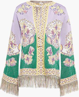 Etro Fringed Metallic Floral-jacquard Sweater