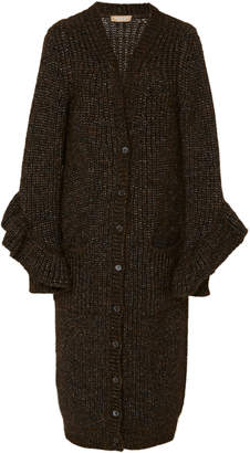 Michael Kors Ruffled Cable Knit Cardigan
