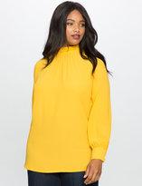 ELOQUII Plus Size Ruffle Mock Neck Collar Tunic