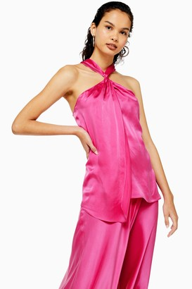 Topshop Womens **Pink Knot Silk Top By Pink