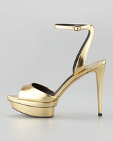 Brian Atwood Femme Fatale Mirrored Platform Sandal, Gold