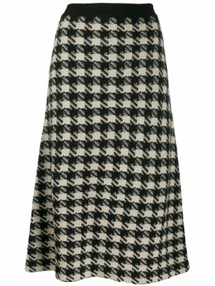 Gucci Houndstooth Knit Midi Skirt