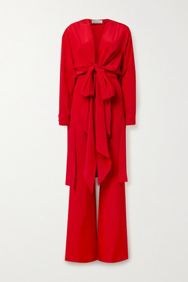 Silvia Tcherassi Heidy Tie-front Silk-blend Crepe De Chine Jumpsuit - Red