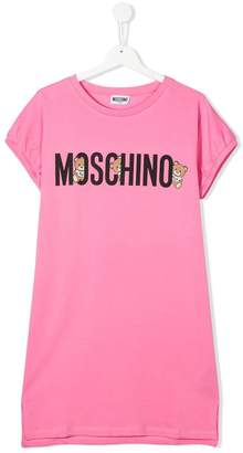 MOSCHINO BAMBINO TEEN bear logo T-shirt dress