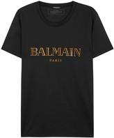 Balmain Black Foil-print Cotton T-shirt
