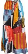 Joseph Gathered Printed Silk-Satin Maxi Skirt
