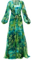 Versace Jungle-print Plunge-neck Silk-chiffon Dress - Womens - Green Print
