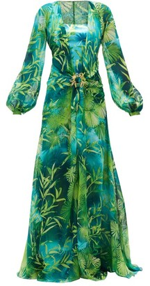 Versace Jungle-print Plunge-neck Silk-chiffon Dress - Green Print