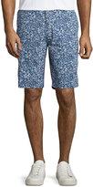Neiman Marcus Floral Straight-Leg Shorts, Riviera