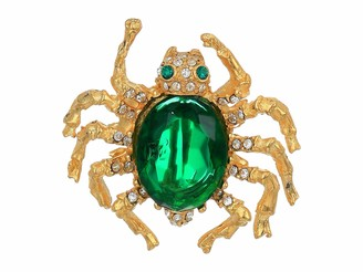 Kenneth Jay Lane Spider Pin Emerald One Size