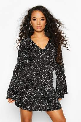 boohoo Petite Sheered Sleeve Polka Dot Smock Dress
