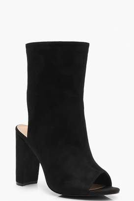 boohoo Extra Wide Fit Peeptoe Shoe Boots