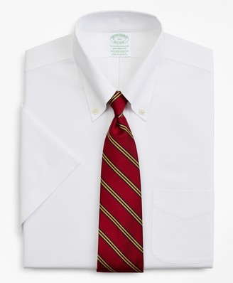 Brooks Brothers Stretch Milano Slim-Fit Dress Shirt, Non-Iron Pinpoint Short-Sleeve