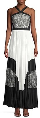 BCBGMAXAZRIA Colorblock Lace Pleated Halter Maxi Dress