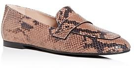 Stuart Weitzman Snake-Embossed Payson Apron Toe Loafers