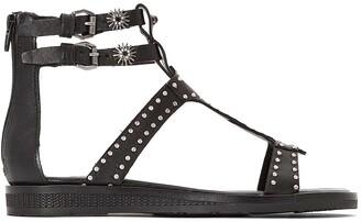 Mjus Temple Leather Flat Studded Sandals