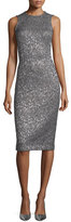 Michael Kors Shimmery Sleeveless Sheath Dress, Slate/Silver