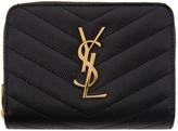 Saint Laurent Black Monogram Compact Zip Around Wallet