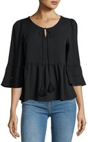 Lucca Couture 3/4-Sleeve Tassel-Neck Top, Black