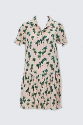 Forever 21 Palm Tree Print Shirt Dress