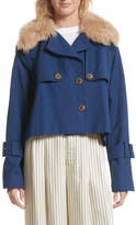 Sea Crop Trench Coat with Genuine Lamb Fur Collar