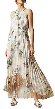 Ted Baker Threlin Pergola Print Pleated High/Low Dress