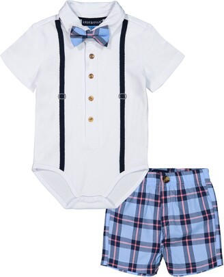 Andy & Evan Polo Shirtzie Bodysuit & Shorts Set