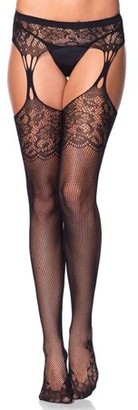 Leg Avenue Women's Cuban Heel Stockings with Attached Garterbelt, Black, O/S