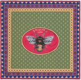Gucci Bee Card Print silk carre