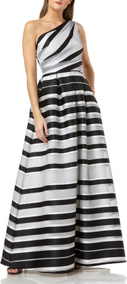 Carmen Marc Valvo One-Shoulder Striped Ball Gown