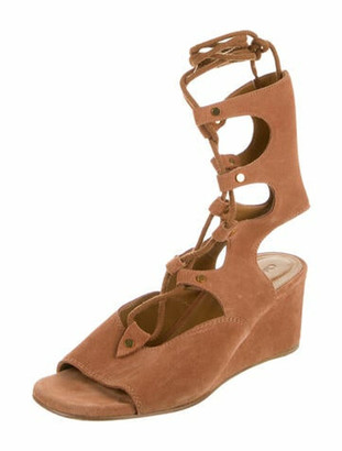 Chloé Suede Gladiator Sandals Brown