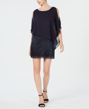 Connected Chiffon-Overlay Sheath Dress
