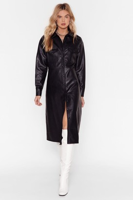 Nasty Gal Womens Leather Been Better Faux Leather Midi Dress - Black - S, Black