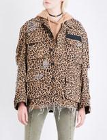 R 13 Shredded leopard-print cotton jacket