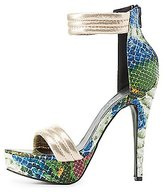 Charlotte Russe Faux Snakeskin Platform Dress Sandals