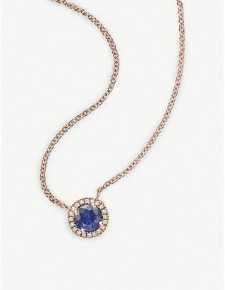 Vashi Halo 18k rose-gold, 0.30ct sapphire and diamond necklace