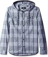 Buffalo David Bitton Men's Siklaus Long Sleeve Fashion Hooded Woven Shirt