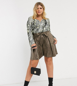 ELVI faux leather shorts with tie