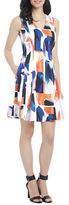 Ellen Tracy Abstract Watercolor Fit-and-Flare Dress