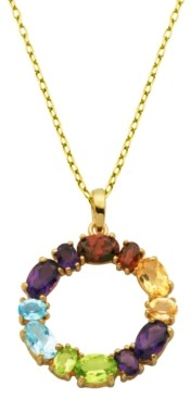 PRIME ART & JEWEL Multi-Stone (3 1/8 ct. t.w.) Round Pendant in 18k Yellow Gold Over Sterling Silver