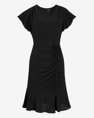 Express Ruched Side Tie Flutter Sleeve Dress