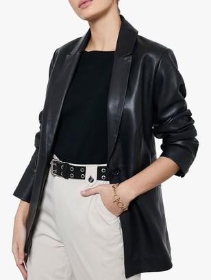Mint Velvet Leather Single Breasted Blazer, Black